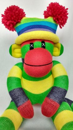 Little sock monkey yellow green and blue with by Sunsetgirl