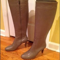 """Elie tahari Quentin storm grey leather boot New in box with dustbag. Brand new. Soft leather. Heel height- 3"""". I'm 5'6"""" and they hit me right below the knee. No trades! Elie Tahari Shoes Heeled Boots"""