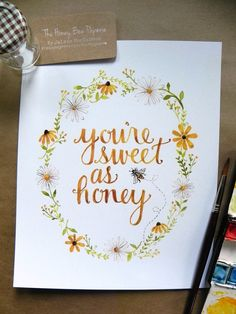 Items similar to Nursery Art/ Nursery Decor/ Honeybee Art Print/ Sweet as Honey Watercolor- on Etsy You're sweet as honey. Bumblebee watercolor art print with Daisies and Black-Eyed Susans. Watercolor Cards, Watercolor Flowers, Watercolor Paintings, Watercolors, Watercolor Art Diy, Watercolor Lettering, Nursery Art, Nursery Decor, Bee Nursery