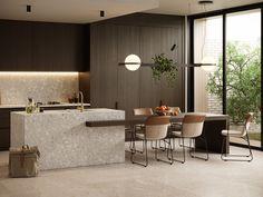 A minimal and functional kitchen with a timeless look. Luxury Kitchen Design, Kitchen Room Design, Kitchen Dining, Kitchen Decor, Home Interior, Kitchen Interior, Interior Design, Functional Kitchen, Cuisines Design