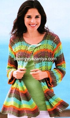 Maybe in a semi-solid or long-repeat self-striping like Kauni or even a gradient? Zig Zag Crochet, Crochet Bolero, Pull Crochet, Crochet Coat, Baby Afghan Crochet, Crochet Cardigan Pattern, Crochet Jacket, Crochet Yarn, Crochet Skirts