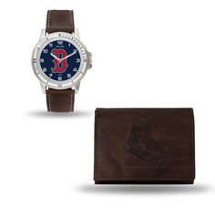 Boston Red Sox Brown Watch/Wallet Gift Set