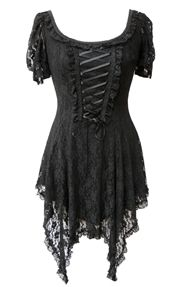 Classically beautiful Gothic dress made with stretched black lace, the perfect addition to your summer wardrobe ! £45.99.