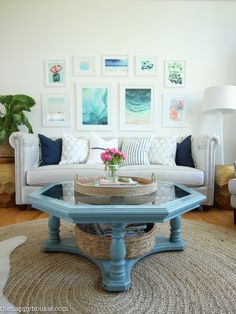 Coastal Style Blue and White Living Room Lakehouse Living Room Makeover Reveal for the One Room Challenge -35