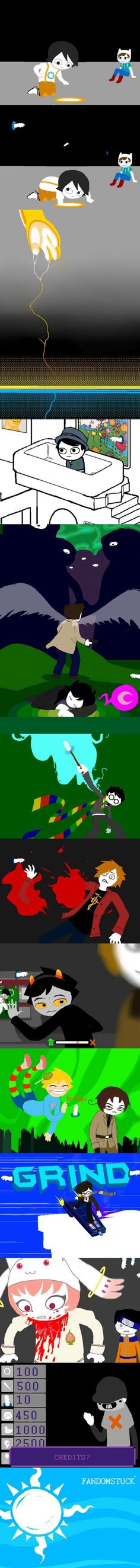THIS IS AMAZING. Homestuck scenes redone with Fandomstuck- Portal & Adventure Time fandom, Onceler fandom, Supernatural protecting Derse dreamer!Sherlock fandom (my favorite) Harry Potter fandom, FMA fandom, Homestuck and Hetslia fandom, and then their trickster and 2p! modes, Doctor Who fandom, and the Madoka and Naruto fandom. Major applause to whoever made this.