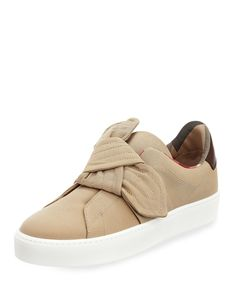Westford+Fabric+Knotted+Sneaker,+Honey+by+Burberry+at+Neiman+Marcus.