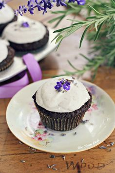 Vegan Chocolate Muffins with Lavender Cream {grain and gluten free, refined sugar free}