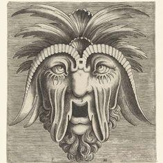 Masker met een openhangende, tandeloze mond, uitgezakte wangen en kuiven op het hoofd, Frans Huys, naar Cornelis Floris (II), 1555 - Rijksmuseum