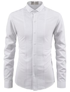 Slim Fit Long Sleeve Tuxedo Shirt Polyester 7 Buttons Wrinkle Free Wing Collar Machine Washable (Hand Wash or Dry Clean Recommended) Imported Measurements (cm/in) Size Shoulder Chest Sleeve Total Length XS 41 90 63 70 S 43 96 64 72 M 45 Mens Designer Shirts, Designer Suits For Men, Indian Men Fashion, Mens Fashion Suits, Stylish Shirts, Casual Shirts, Casual Outfits, Fitted Dress Shirts, Shirt Dress