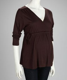 Take a look at this Brown Maternity Dolman Top - Women by Dynabelly on #zulily today!