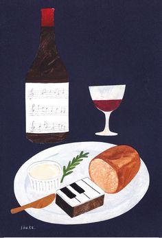 こんな召し上がり方はいかが?「ジャズ羊羹」は ワインにとってもよく合いますよ。イラストは京都在住の人気イラストレーター西淑さんにより描き下ろしポストカード。