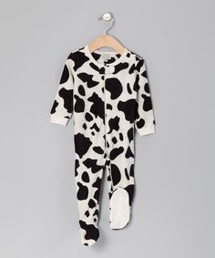 Take a look at this Black Cow Fleece Footie - Infant, Toddler & Kids by Leveret on #zulily today!
