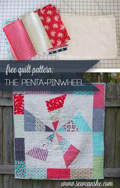 Penta-Pinwheel Quilt {free tutorial}