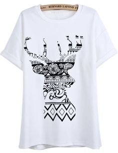 22ff6e145e9 White Short Sleeve Floral Deer Print T-Shirt pictures T Shirt Picture