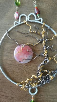 Wire wrapped beaded Tree of life sun catcher with moon.