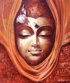 Orange acrylic Painting by Jiban Biswas on Canvas, Figurative based on theme Jiban Biswas. Buddha Painting, Buddha Art, Mural Painting, Figure Painting, Buddha Buddhism, Composition Painting, Indian Art Paintings, Thai Art, Hindu Art