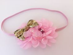 Pink and Gold Minnie Headband // Baby Minnie by JuliaGraceBoutique