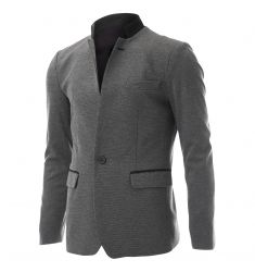 FLATSEVEN Mens Slim Casual Waffle Fabric Blazer Jacket Gray, Boys XL (Chest 38)…