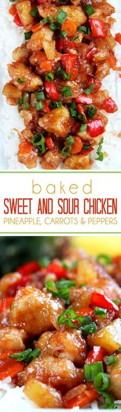 The BEST Sweet and Sour chicken - takeout OR homemade - I have ever had in my entire life! It is also baked with pineapple, carrots, onions and bell peppers all in ONE BAKING DISH! No need to stir fry extra veggies! #sweetsourchicken #chinesefood #fakeouttakeout