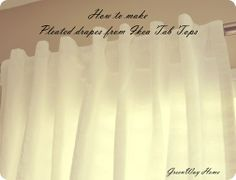 Make pleated drapes from tab top drapes