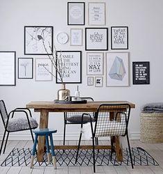 Wohnzimmer/Esszimmer einrichten: mit vielen Bildern an der Wand I living room decoration with picture wall