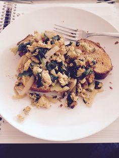 veggie feta scramble over tomato basil bread