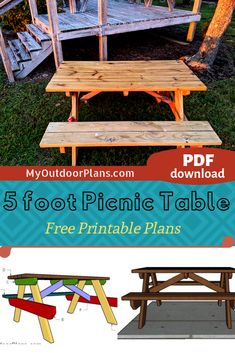 Easy to follow plans for you to learn how to build a 5 ft picnic table. The free instructions come with step by step diagrams. PDF download and Print friendly. Full cut / shopping list included in the project. #picnictable #5ftpicnictable #picnictableplans Diy Picnic Table, Wooden Picnic Tables, Picnic Table Plans, Wooden Playhouse, Diy Shed, Play Houses, Outdoor Furniture, Outdoor Decor, Woodworking Plans