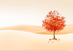 рисунок, дерево, листья, осень