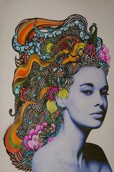 """Saatchi Art Artist Linda Lovenstein; Drawing, """"Gloria."""" #art - 7th grade celebrity collage"""