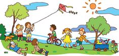 Illustration of Children having a good time in sunny summer landscape vector art, clipart and stock vectors. Clipart Boy, School Murals, Cartoon People, Summer Landscape, Summer Boy, Banner Printing, Image Photography, Kids Playing, Paisajes