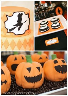 Tiny pumpkin chocolate chip cakes shaped liked pumpkins and covered in vanilla cream cheese frosting and fondant. The perfect little faces really brought on the smiles.