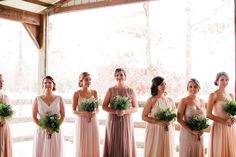 All green bridesmaids bouquets