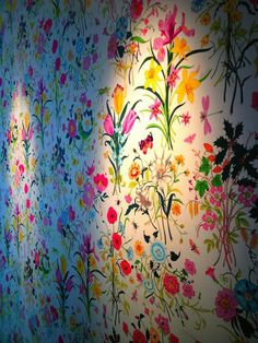 bright floral wallpaper, so great for a girly closet or little girls room