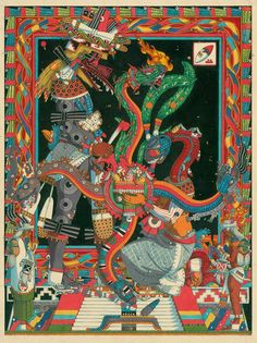 The Sacrifice of Quetzalcoátl, in which he offers blood drawn from his member to the goddess Cihuacoátl, Serpent Woman, who forms a masa with maize, the crushed bones of our ancestors, and his sacred blood, with which to form the first man and woman.