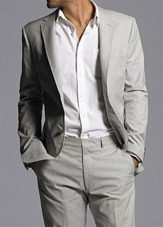 Sharp - grey cotton suit from J Crew with a simple white shirt. Always a classic