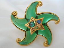 Trifari Starfish Jelly Belly Pin Brooch Chunky Molded Green Lucite & Moonstones