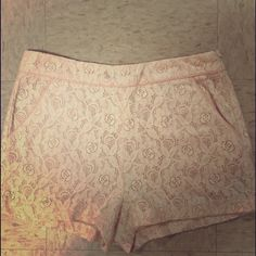 Lace shorts Pink and cream lace shorts . Worn once . Forever 21 Shorts