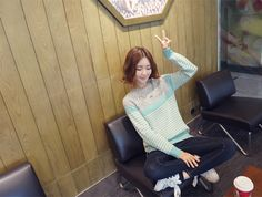 CLICK - Color-Block Sweater #cutefashion #mintgreen #stripsweater #knits