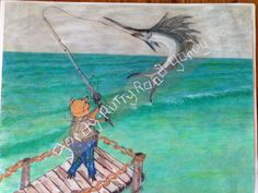 This comical Mr. Pig is deep sea fishing off a pier and has snagged a swordfish…