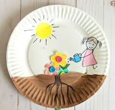 Paper plate growing flower craft for kids to enjoy for a spring craft. Easy craft for Preschoolers, watching their flowers grow out of the soil. Plant Crafts, Frog Crafts, Bird Crafts, Butterfly Crafts, Craft Stick Crafts, Preschool Crafts, Craft Sticks, Craft Ideas, Diy Ideas