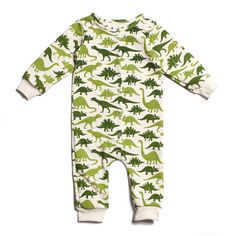 Dinosaurs Green French Terry Jumpsuit
