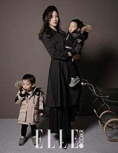 Lee Hwi Jae's wife Moon Jung Won and Jung Hye Young pose with their kids for 'Elle' | allkpop.com