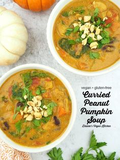 Stay warm on a cold autumn evening with a cozy bowl of Curried Peanut Pumpkin Soup. This healthy soup is hearty enough to be a meal on its own. This creamy roast pumpkin soup recipe is vegan and gluten-free. Roasted Pumpkin Soup Recipe, Vegan Pumpkin Soup, Roast Pumpkin Soup, Pumpkin Recipes, Soup Recipes, Cheap Clean Eating, Clean Eating Snacks, Dairy Free Recipes, Gluten Free