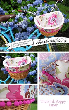 The Pink Poppy Bike Basket Liner by BlueSkyConfections on Etsy, $46.00