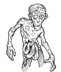 Cartoon Zombie Boy Coloring Page