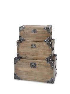 Wooden Trunks (Set of 3) from Summer Cabin Style on Gilt