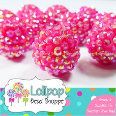 20mm HOT PINK AB Rhinestone Beads Bumpy Beads Sparkly Berry Beads Pave Beads Bling Dk Pink Chunky Beads Resin Round Plastic Bubblegum Beads by Lollipop Bead Shoppe