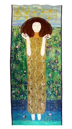 """Joyful"" by Sue Van Voorhees.  Inspired by Gustav Klimt's ""Beethoven Frieze"".  The Art Quilt Association."
