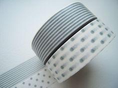 Gray Polka Dots and Stripes via Etsy.