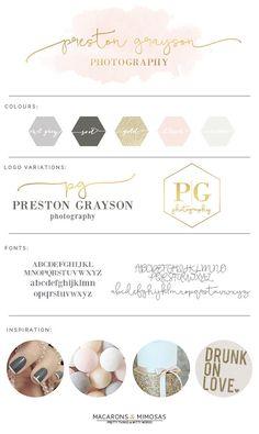 Branding business branding brand board branding kit logo design rose gold l Branding Kit, Business Branding, Branding Ideas, Logo Ideas, Business Tips, Custom Logo Design, Custom Logos, Watercolor Logo, Calligraphy Watercolor